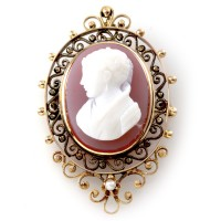 Lavender Celluloid Cameo and Pearl Brooch in Gold