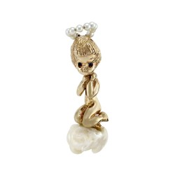 Ruser Cherub Pearl and Sapphire Brooch in Gold