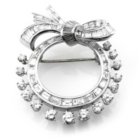 Mid-Century Diamond Wreath and Bow Brooch In Platinum