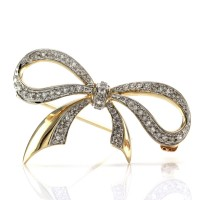 Vintage Single Cut Diamond Bow Brooch/ Pendant in 14K Gold