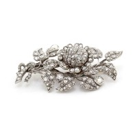Antique Rose Cut Diamond En Tremblant Flower Brooch in Gold and Silver