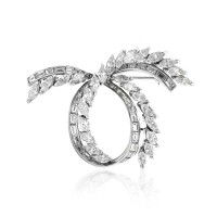 Vintage Mixed-cut Diamond Swirl Brooch in Platinum