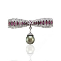 Tahitian Pearl, Diamond and Ruby Bar Pin in Gold