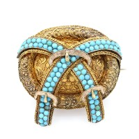 Antique Turquoise Buckle Brooch in Gold