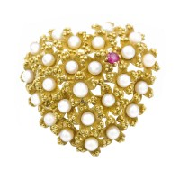 Tiffany & Co. Pearl and Ruby Heart Brooch in Gold