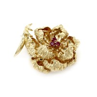 Tiffany & Co. Ruby Flower Brooch in Gold