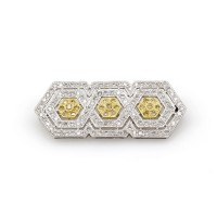 White and Yellow Diamond Brooch in Gold