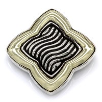 Yurman Quatrefoil Pin Brooch in Silver and Gold