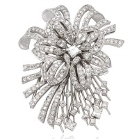 Platinum Flower and Fireworks Diamond Brooch Pin