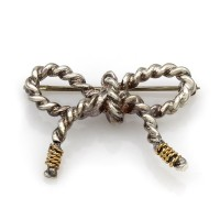 TIFFANY & CO. Rope Bow Brooch in Sterling Silver w/ 18K Yellow Gold Accents