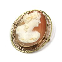 Vintage 14K Yellow Rose Gold Shell Cameo Brooch