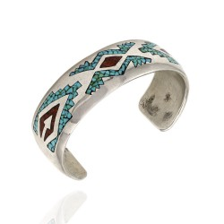 DELVIN J. NELSON Navajo Sterling Silver Turquoise Coral Chip Inlay Cuff Bracelet
