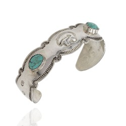 Navajo Handmade Stamped Sterling Silver Turquoise Bear Cuff Bracelet Signed EP