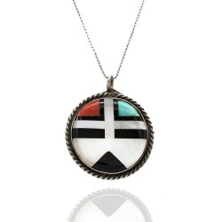 Vintage Zuni Handmade Sterling Silver Turquoise Coral Shell Inlay Sun Face Pin Pendant