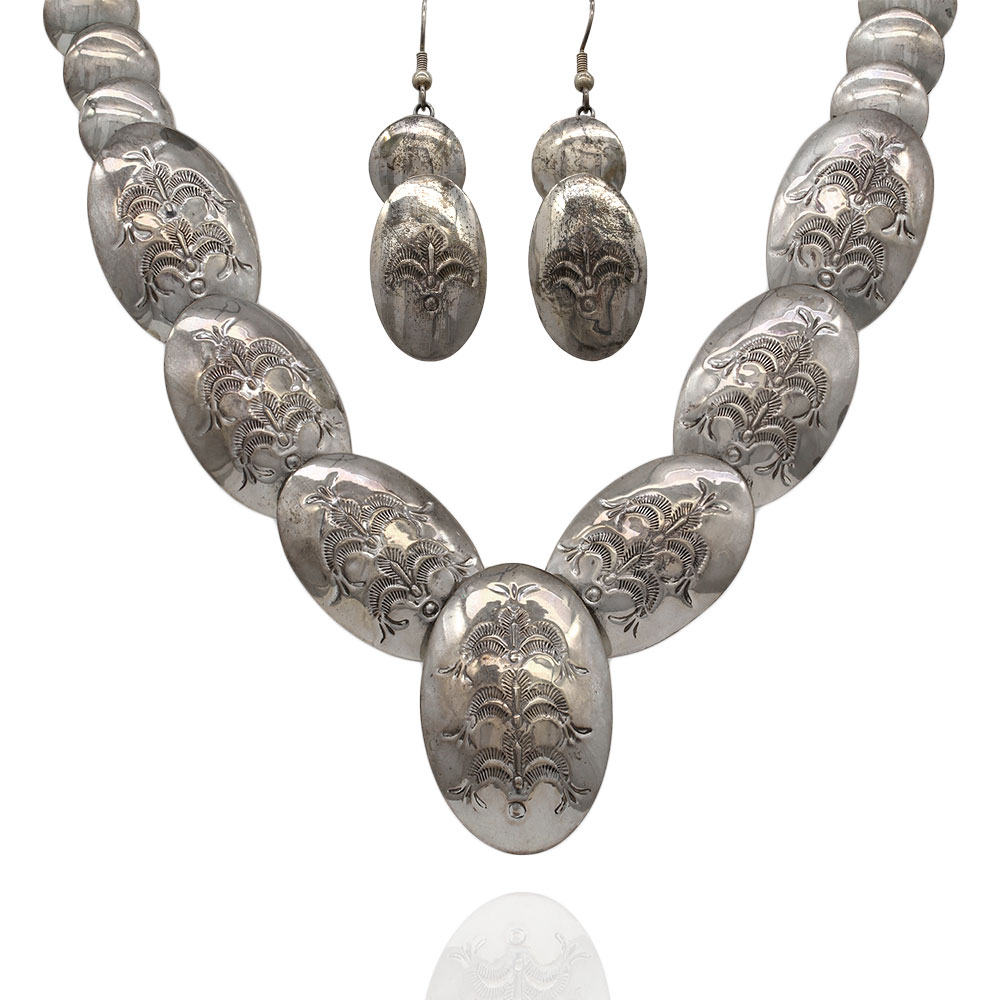 Navajo Sterling Silver Disc Bead Necklace & Earrings Set