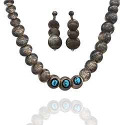 Navajo Sterling Silver & Turquoise Disc Bead Necklace & Earrings Set