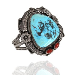 Navajo Signed GG Sterling Silver Turquoise & Coral Cuff Bracelet