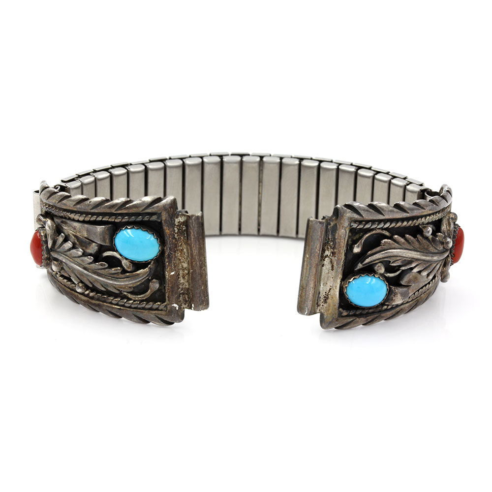 Navajo STC Sterling Silver Turquoise & Coral Watch Bands