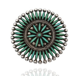 Zuni Signed Sterling Silver & Turquoise Needlepoint Pin