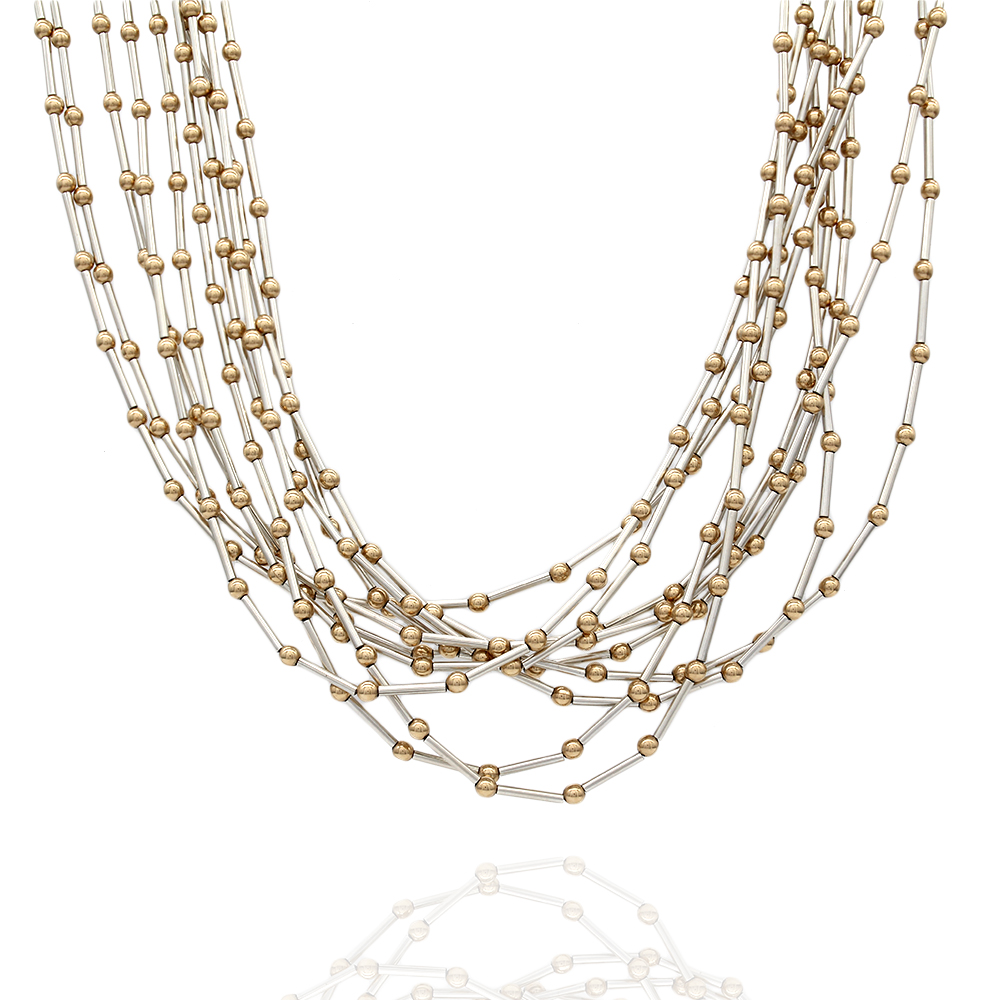 Navajo Liquid 10 Strand Sterling Silver & 14K Yellow Gold Bead Necklace