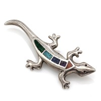 Southwestern Carolyn Pollack Relios Silver Multi-Stone Chip Inlay Lizard Pin
