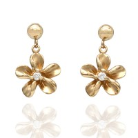 14KY Flower Drop Earrings with Diamond Accents