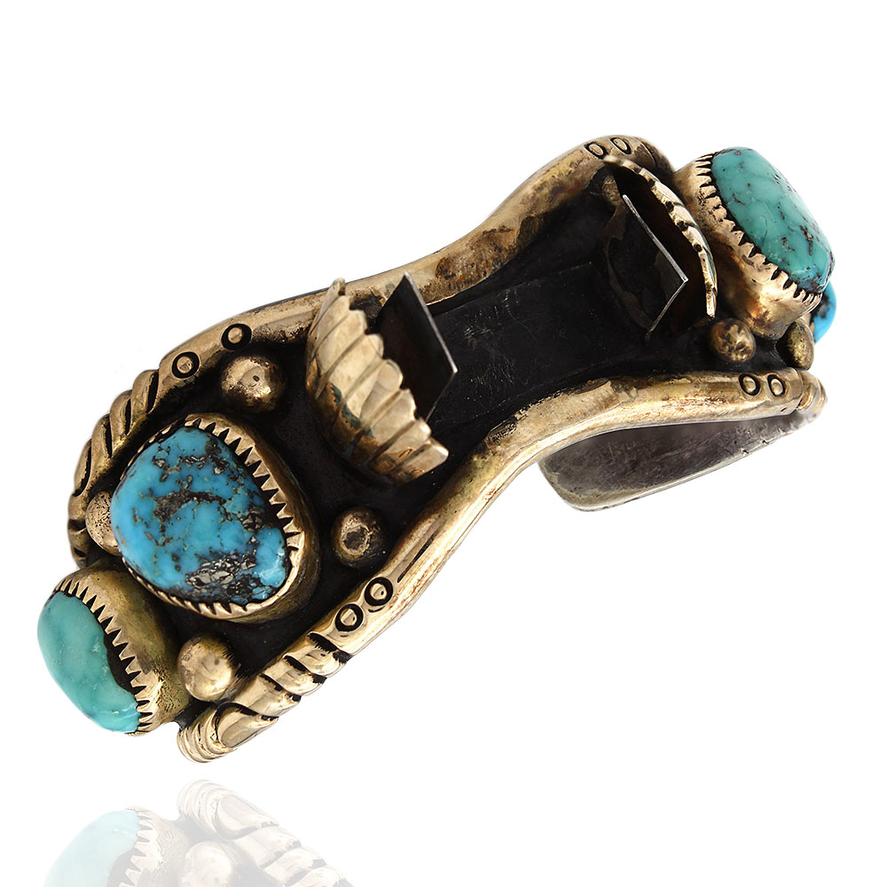 Navajo Sterling Silver Turquoise Watch Cuff Bracelet Signed JLC