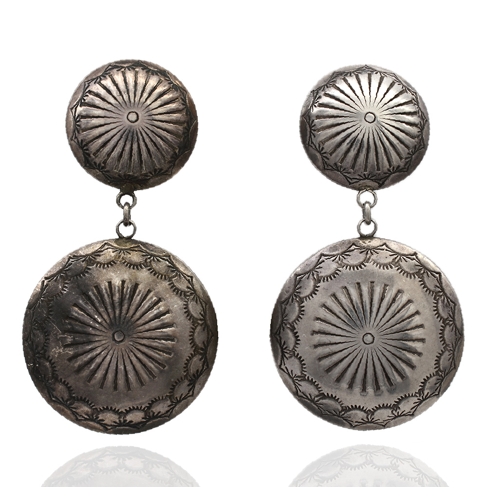 Large Navajo Jack Tom Sterling Silver Concho Earrings