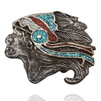 Navajo Sterling Silver Turquoise Coral Shell Chip Inlay Chief Belt Buckle