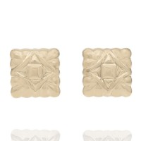 14KY Square Puffed Earrings