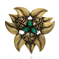 Joseff of Hollywood Large Flower Brooch with Green Rhinestones