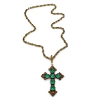 Joseff of Hollywood Cross Necklace with Green Rhinestones