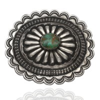 Vinage Navajo Hand Stamped Sterling Silver Turquoise Oval Concho Belt Buckle