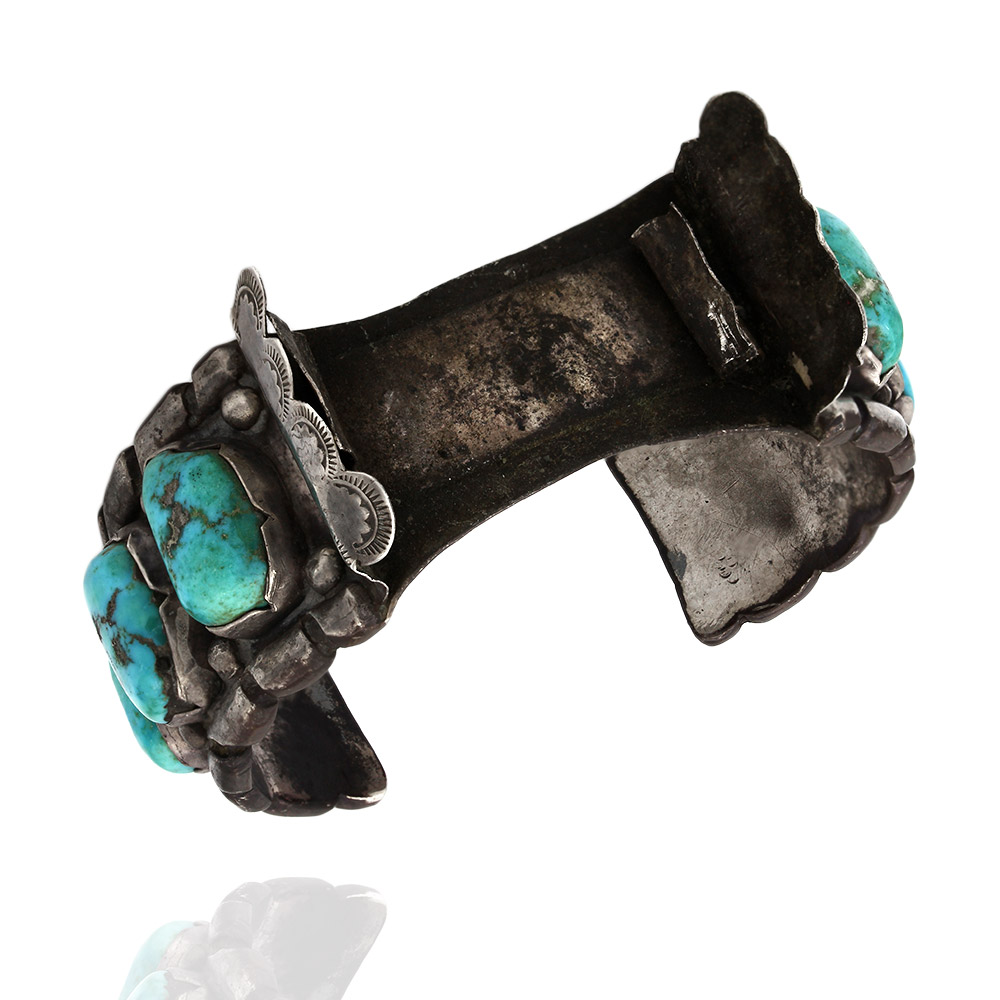 Large Vintage Navajo Sterling Silver Turquoise Watch Cuff Bracelet signed EW