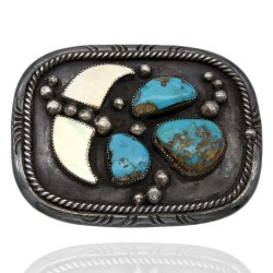 Large Vintage Navajo Sterling Silver Turquoise Mother of Pearl Belt Buckle