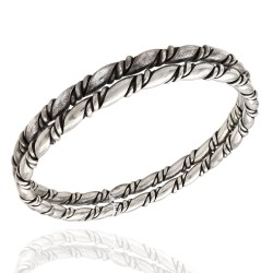 Pair of Vintage Navajo Handmade Solid Sterling Silver Twisted Rope Bangle Bracelets