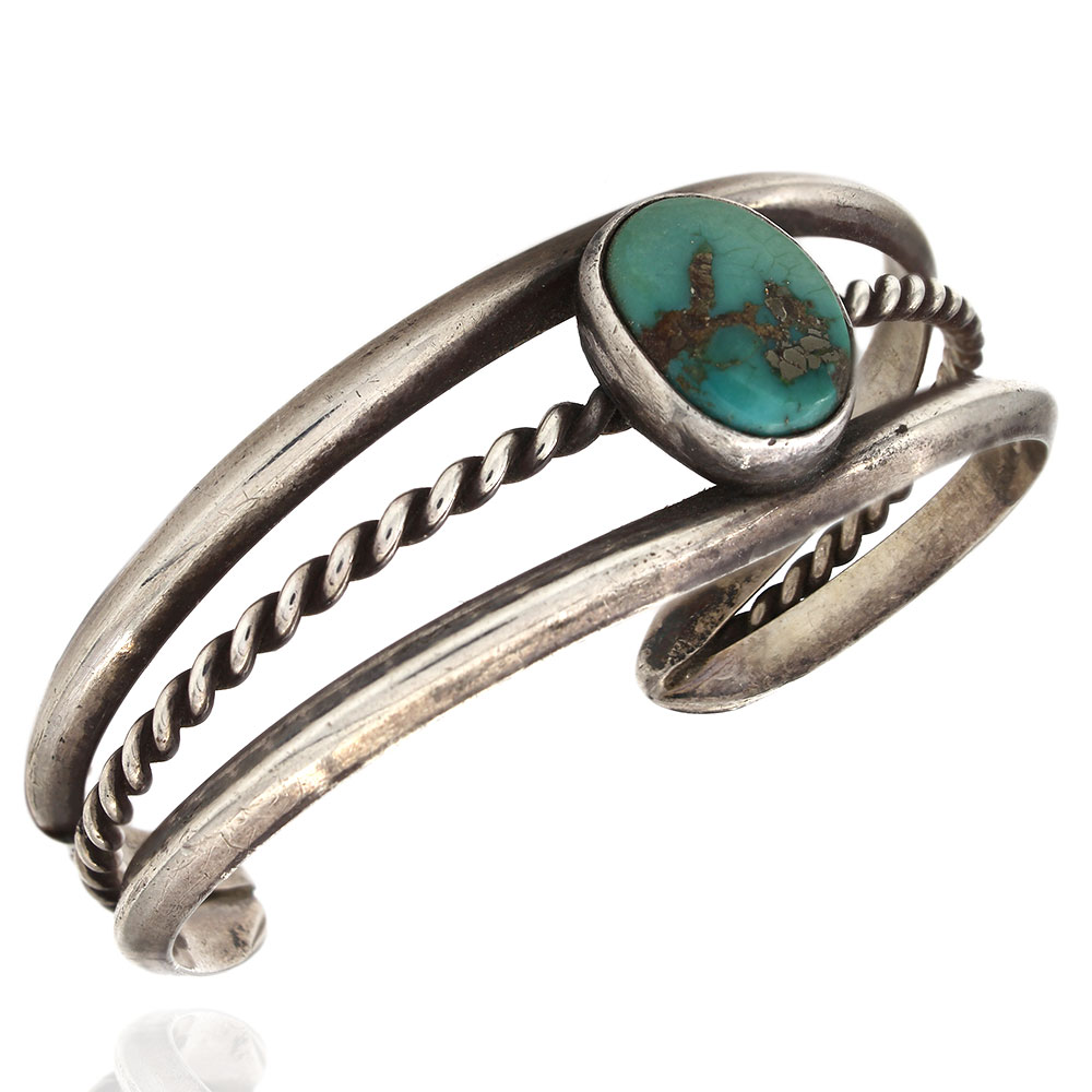 Navajo Sterling Silver & Natural Turquoise Cuff Bracelet