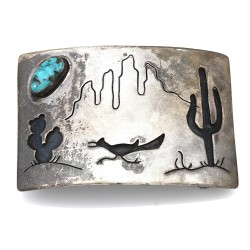 Navajo Sterling Silver & Turquoise Roadrunner Belt Buckle