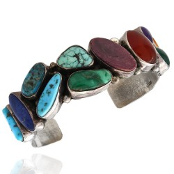 E. Billy Navajo Sterling Silver Turquoise Lapis Oyster Shell Cuff Bracelet