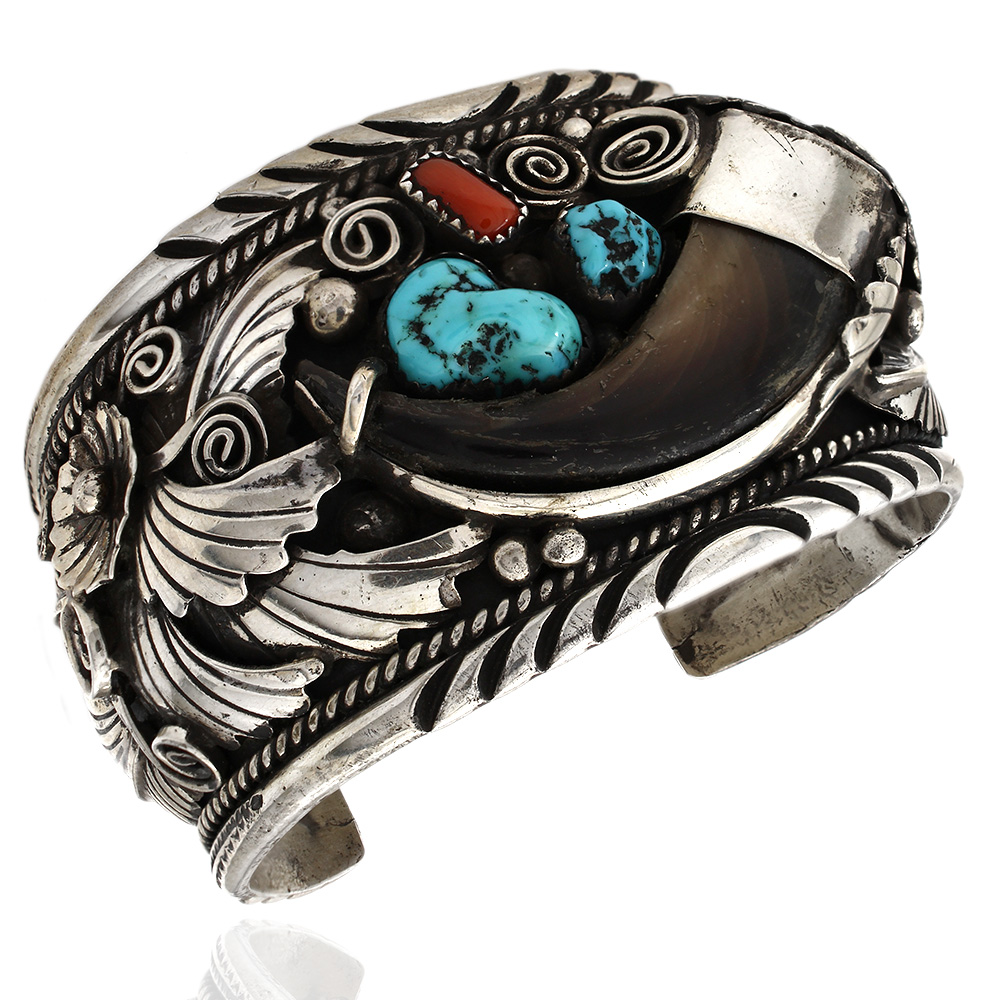 Navajo Sterling Silver Turquoise & Coral Bear Claw Cuff Bracelet