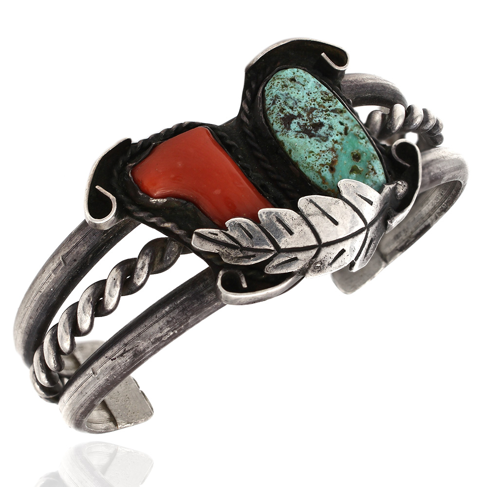Navajo Sterling Silver Turquoise & Coral Cuff Bracelet