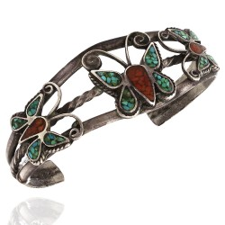 Navajo Sterling Silver Turquoise & Coral Chip Inlay Butterflies Cuff Bracelet