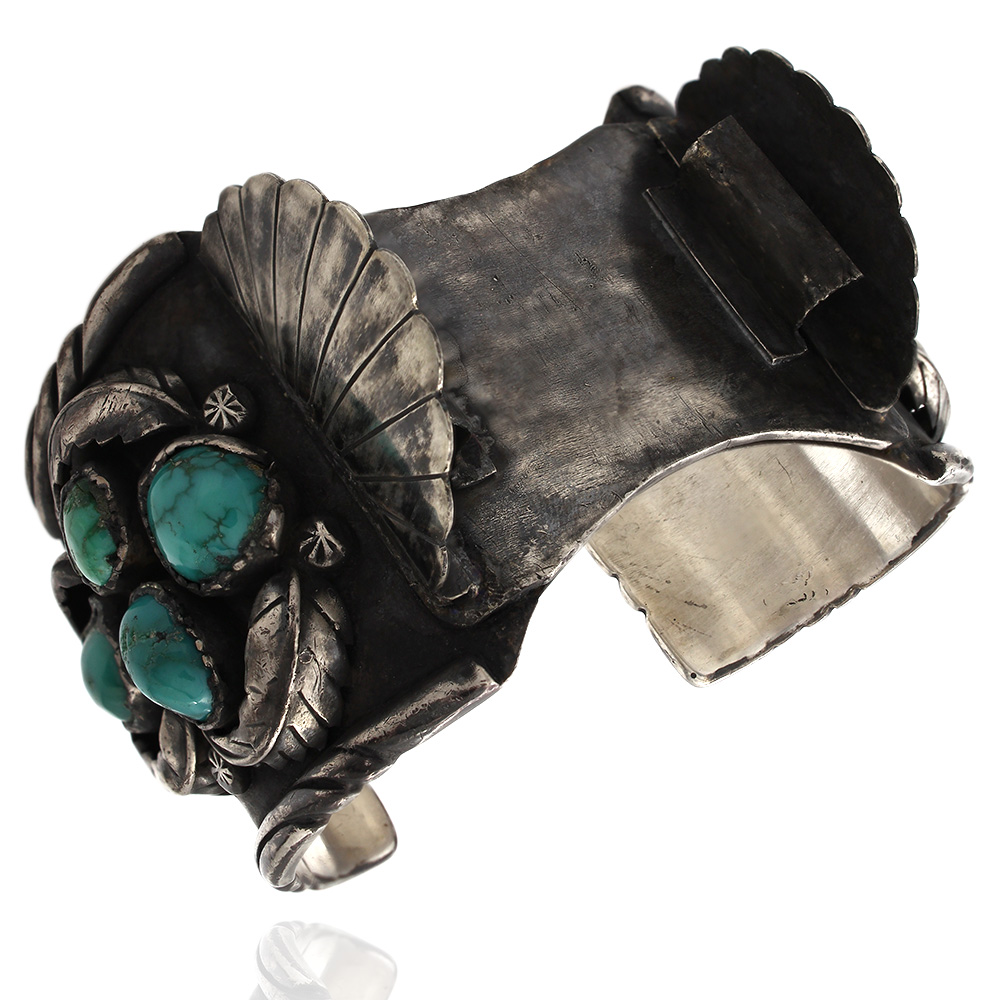 Large Vintage Navajo Sterling Silver Turquoise Watch Cuff Bracelet