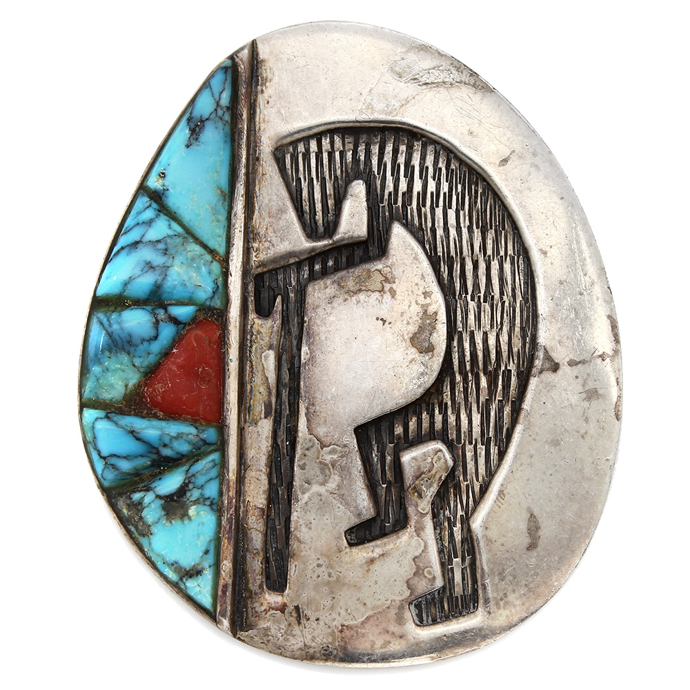 Vintage Navajo Sterling Silver Turquoise & Coral Kokopelli Pendant Signed RE