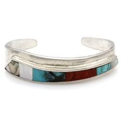 Navajo Sterling Silver Turquoise Coral Shell Inlay Cuff Bracelet