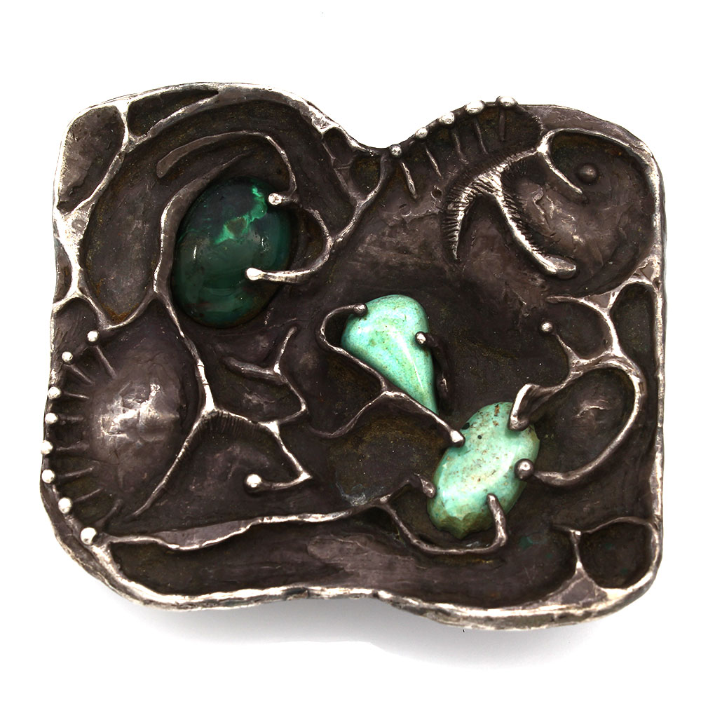 Vintage Navajo Handmade Abstract Sterling Silver Turquoise Belt Buckle
