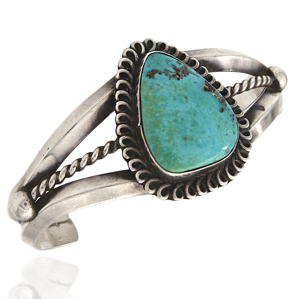 Old Pawn Navajo Handmade Sterling Silver Turquoise Cuff Bracelet