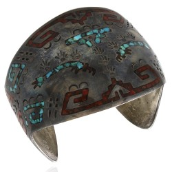 Navajo Sterling Silver Turquoise & Coral Chip Inlay Cuff Bracelet