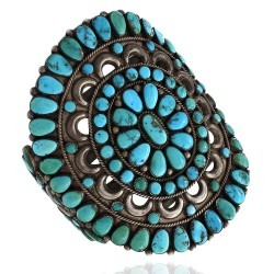 Large Zuni Sterling Silver & Natural Turquoise Cluster Cuff Bracelet