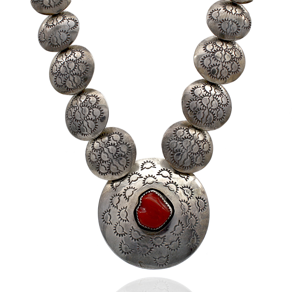 Navajo Sterling Silver Coral Graduated Disc Bead Necklace